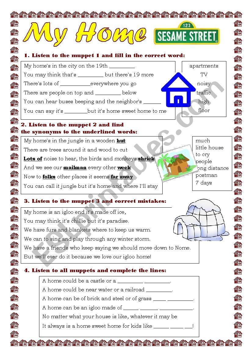 My Home Esl Worksheet By Yuliya888
