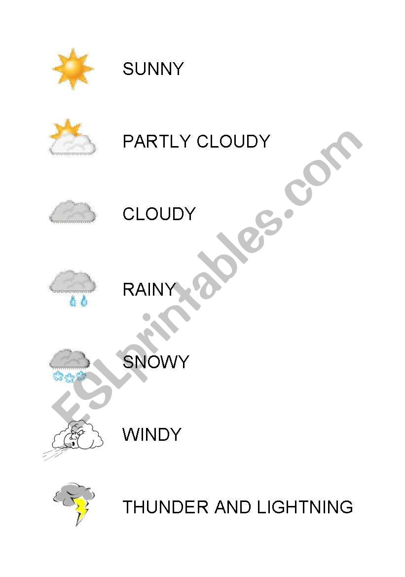 Weather Symbols Esl Worksheet By Kjersti