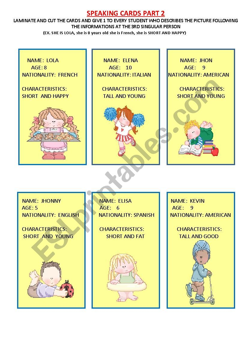 speaking cards for young learners (2/3)