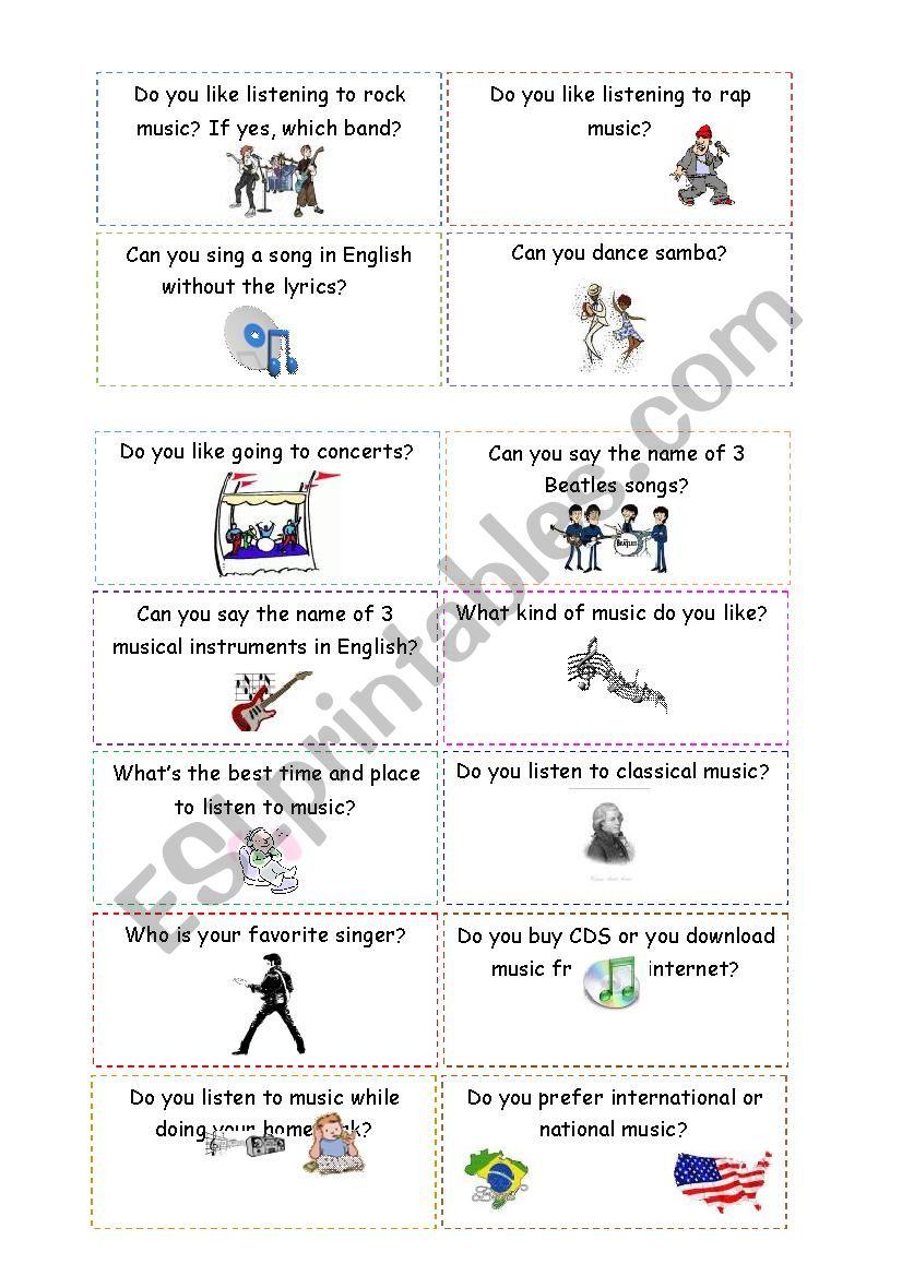 conversation cards - music - ESL worksheet by milla12