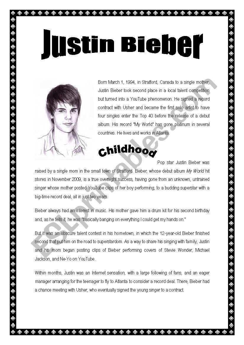 Justin Bieber reading comprehension