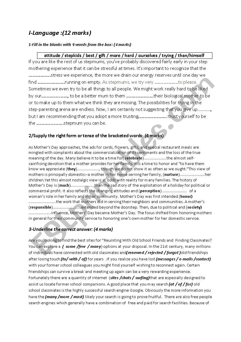 Mid term test 1 for 2nd year worksheet