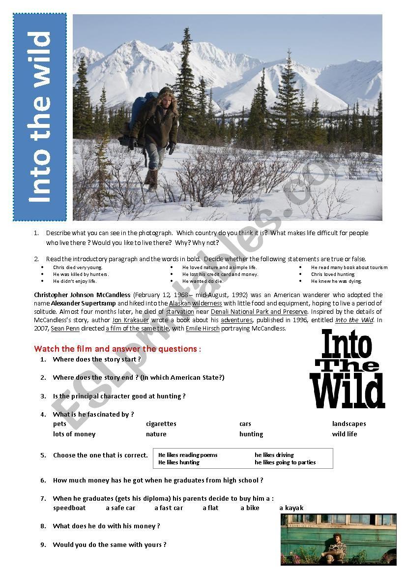 Into The Wild Movie Esl Worksheet By Karagozian