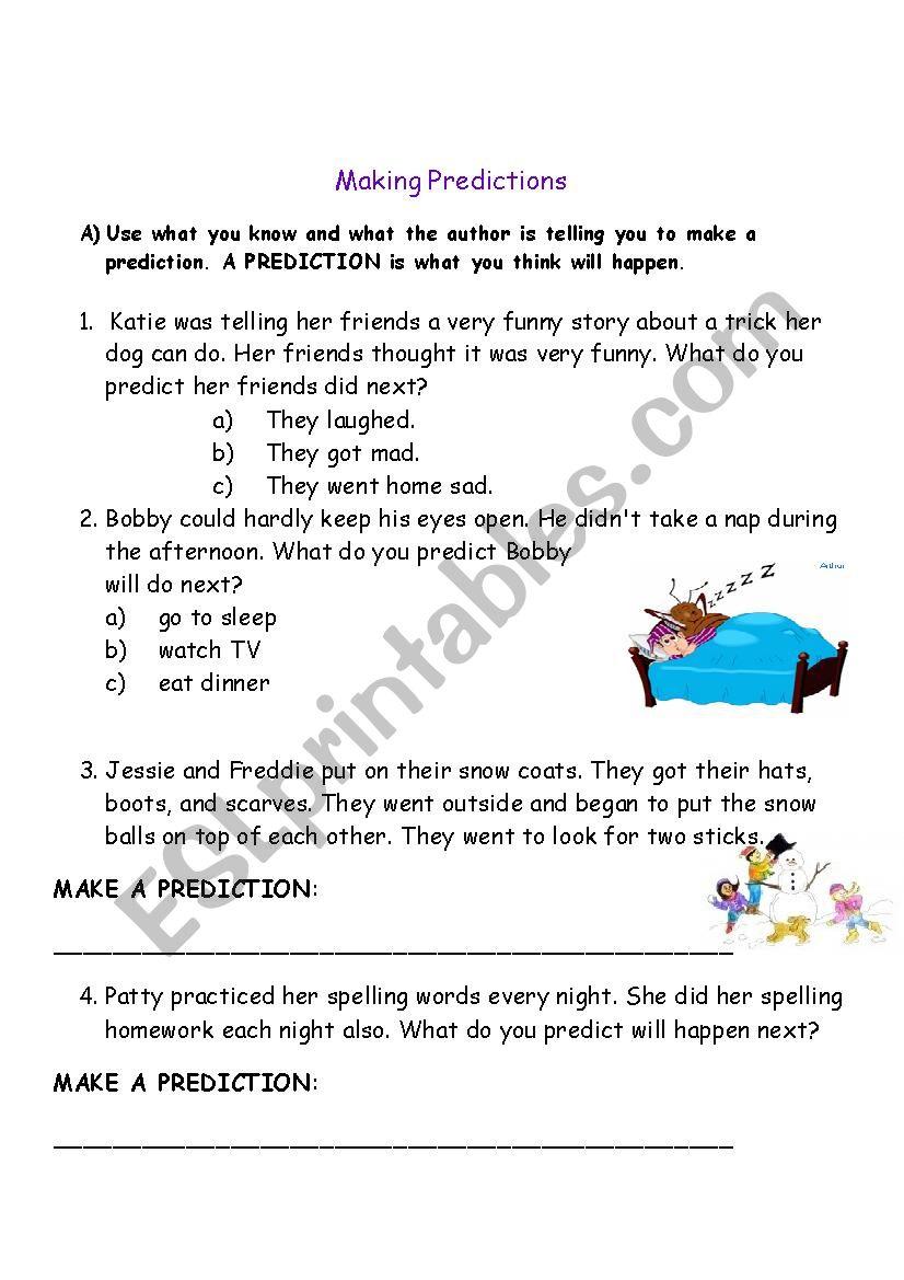 making Predictions - ESL worksheet by celeine