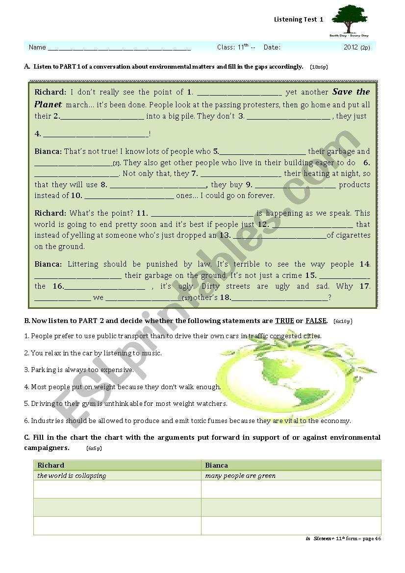 environment listening test  worksheet