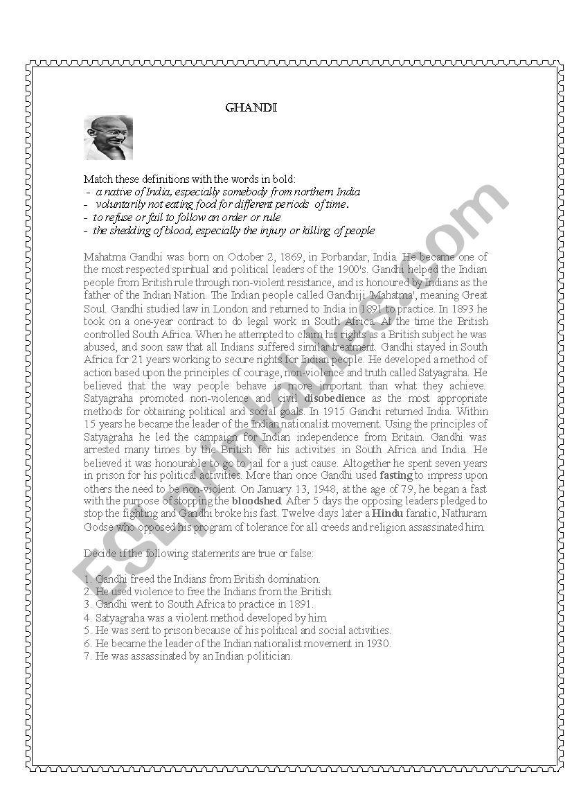 Mahatma Gandhi worksheet
