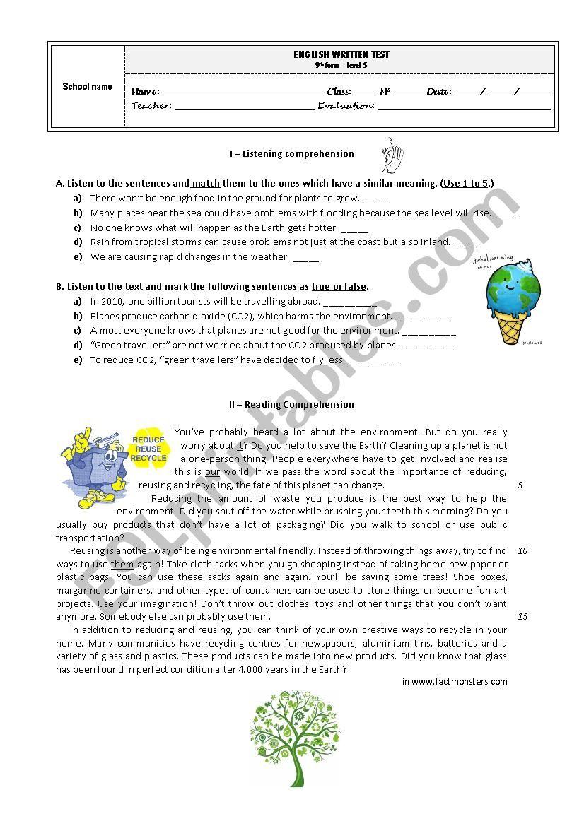 Test 9th form - Environment / Volunteering