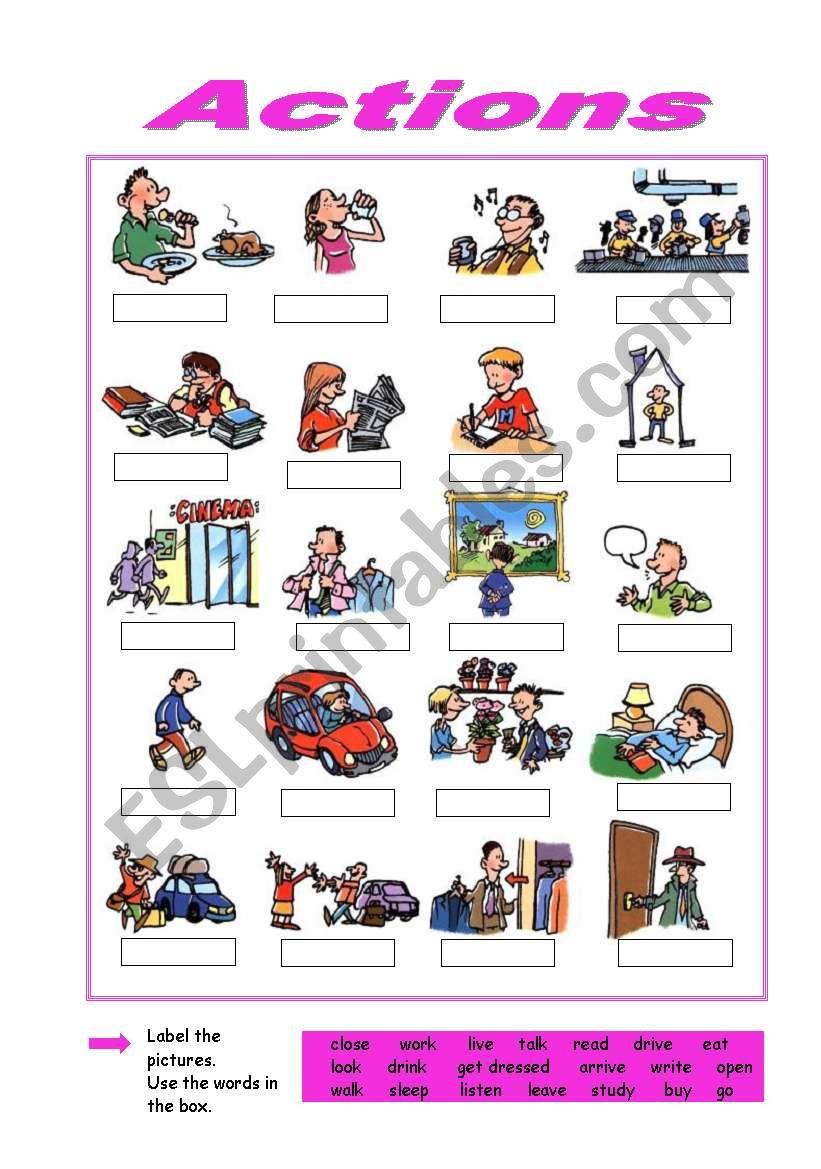 Actions worksheet