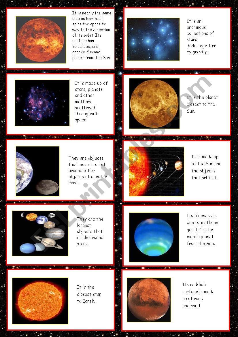 Universe cards worksheet