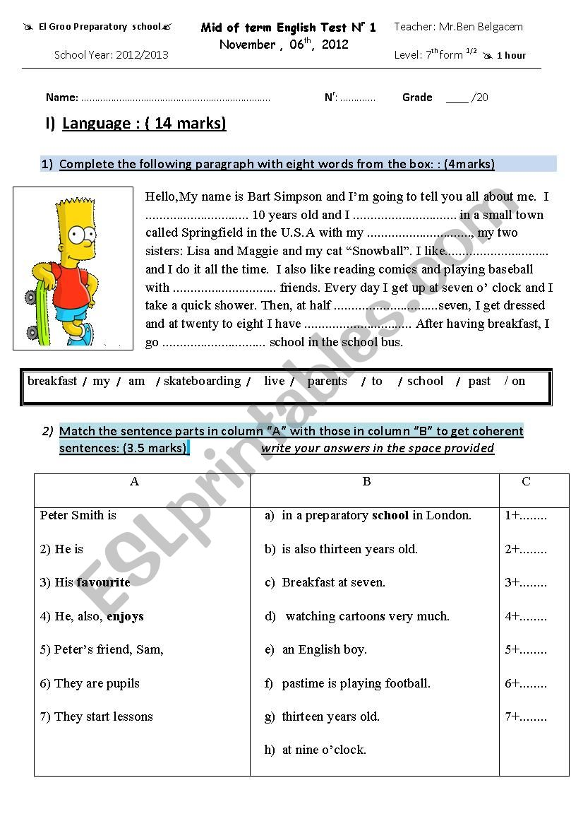 7th form mid of term test 1 worksheet