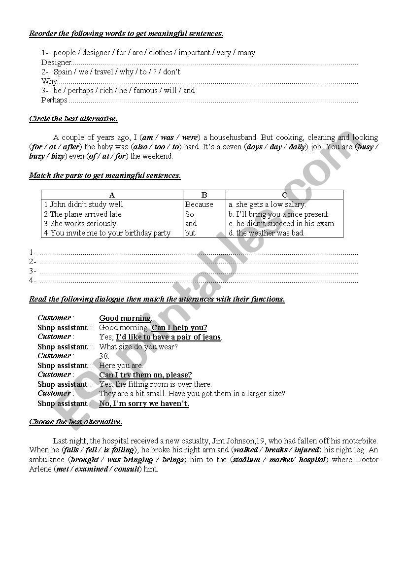 9th Form worksheet  24 worksheet