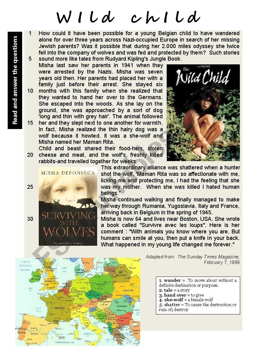 Wild Child worksheet
