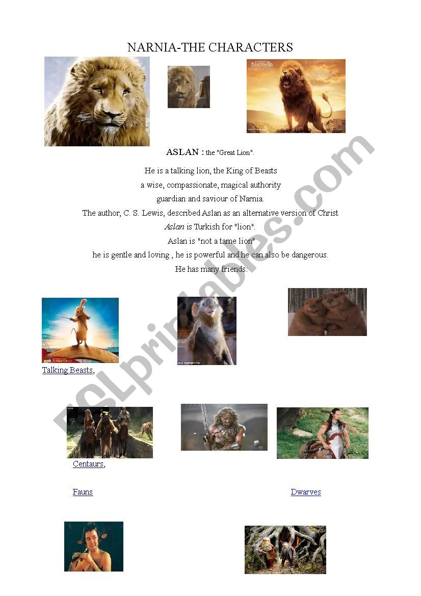 NARNIA - ESL worksheet by titine69