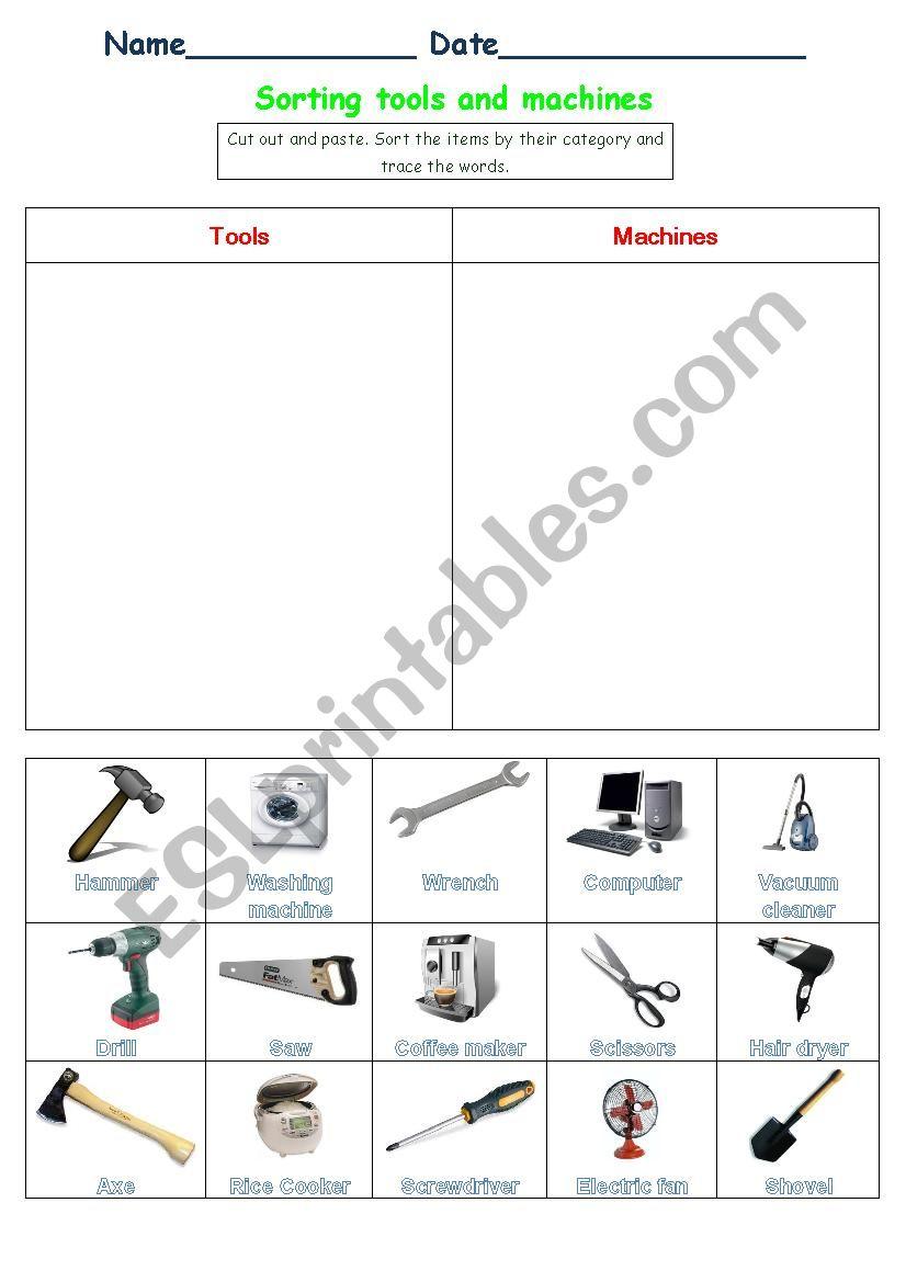 Sorting tools and machines worksheet