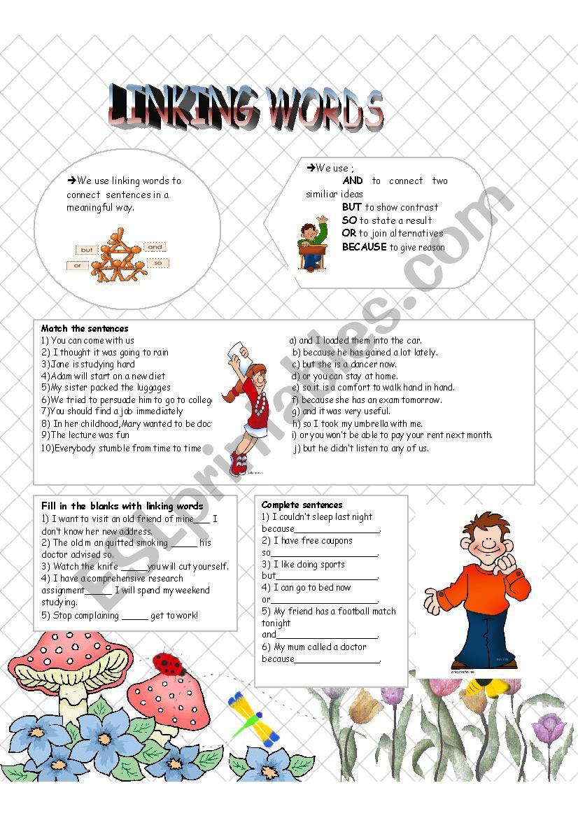 linking words - ESL worksheet by cukurova