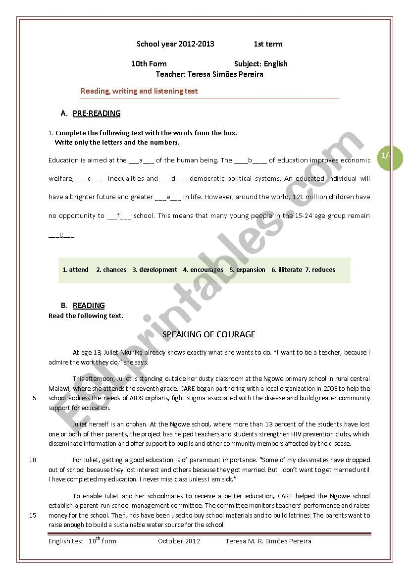 English test  - 10th form worksheet