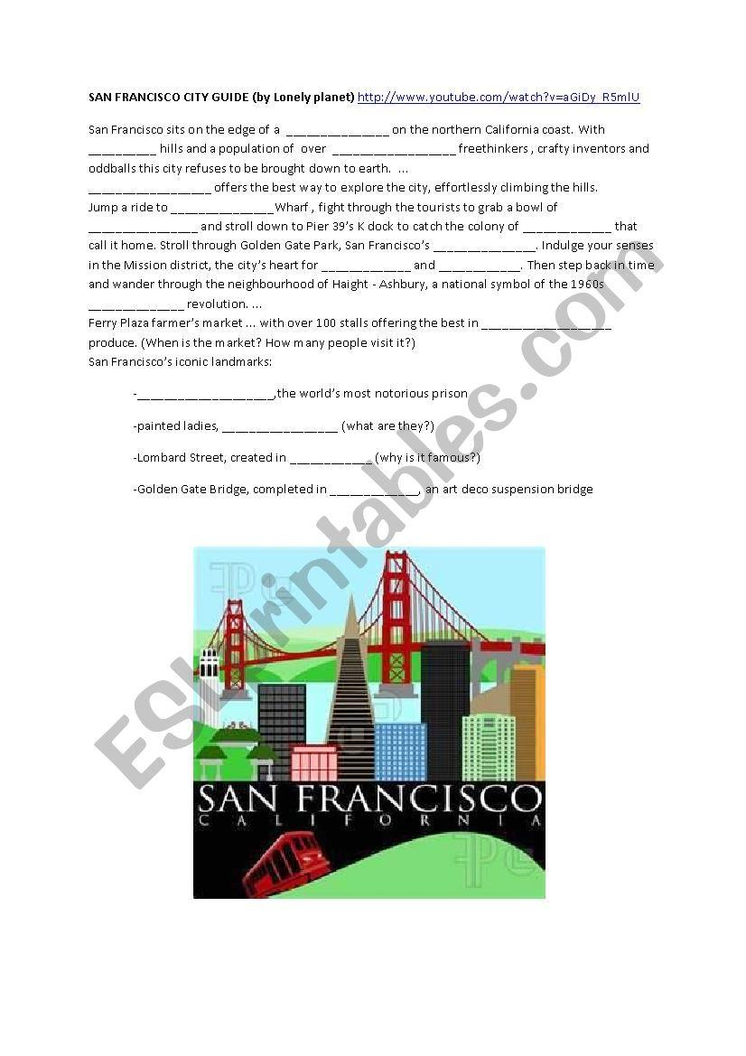San Francisco City Guide worksheet