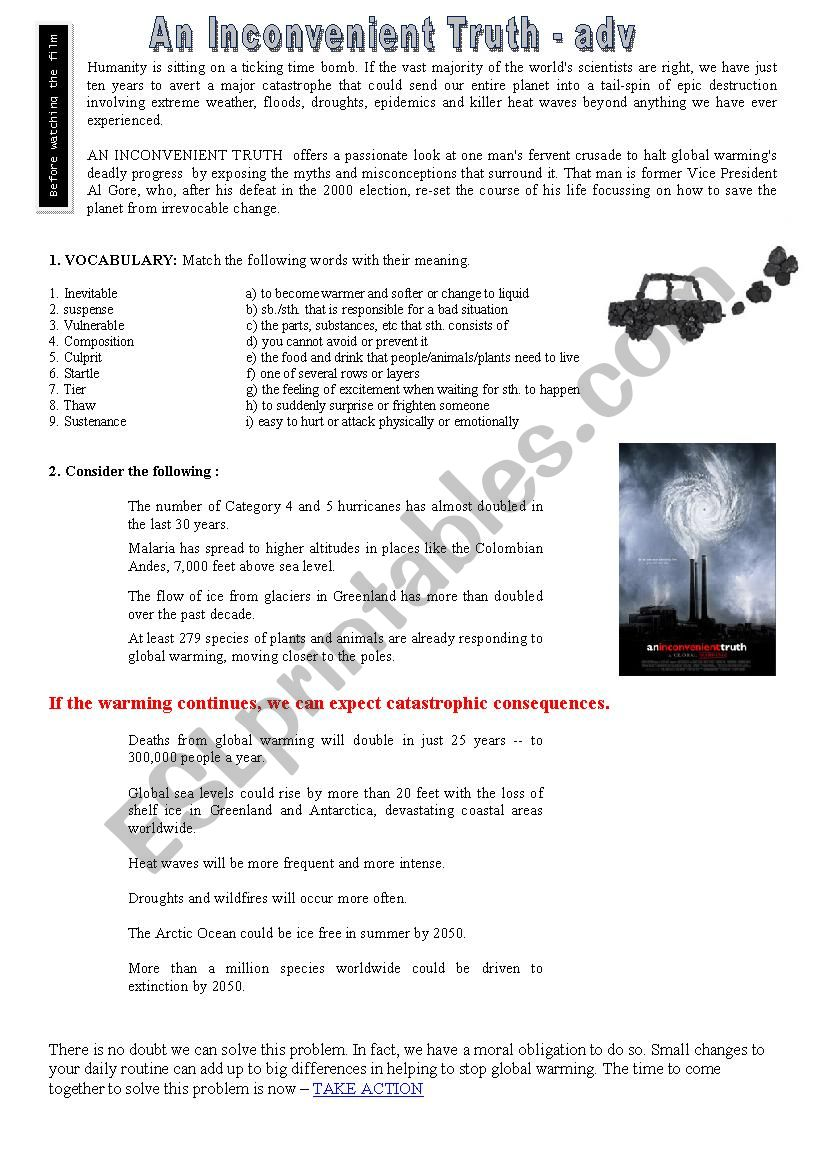 An inconvenient truth (movie) worksheet