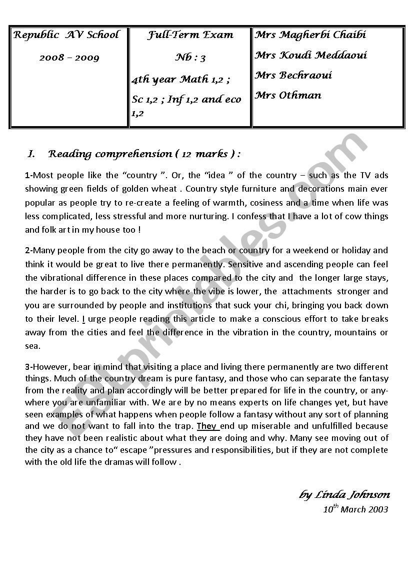 the countryside  worksheet