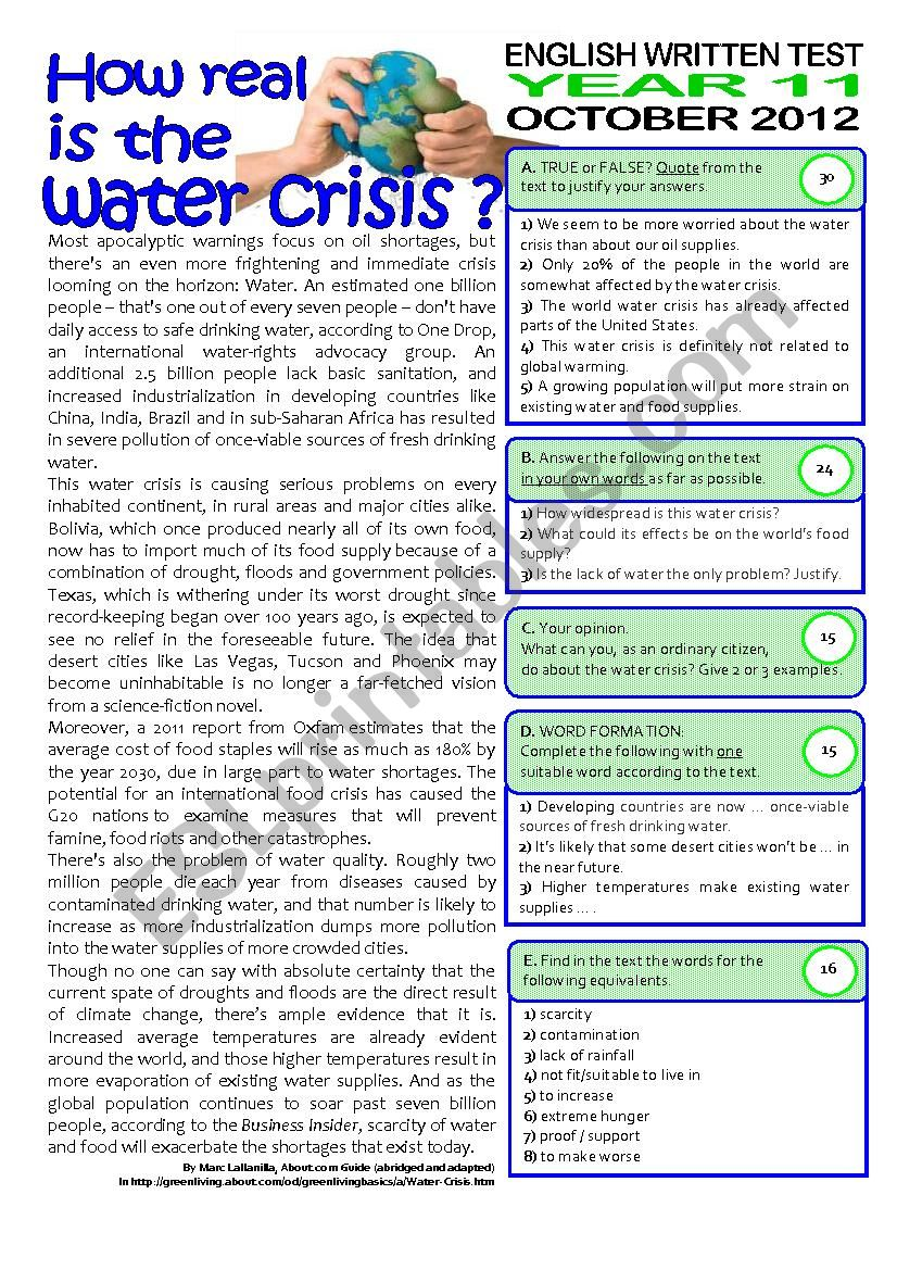 2page TEST (11 grade) WATER CRISIS (key included)