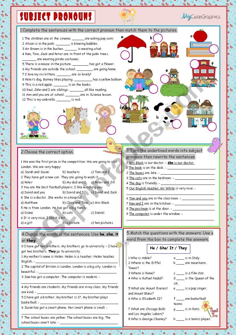 Subject Pronouns worksheet