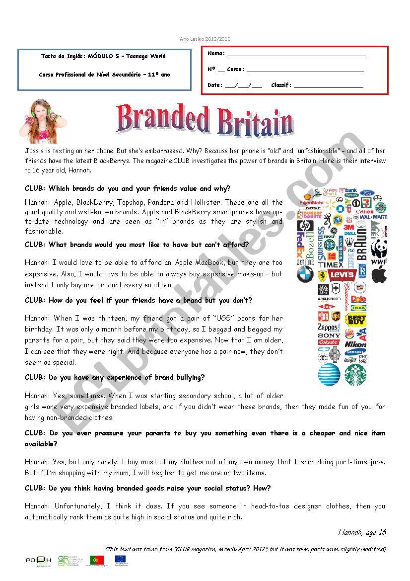 Test - M5 - Branded Britain worksheet