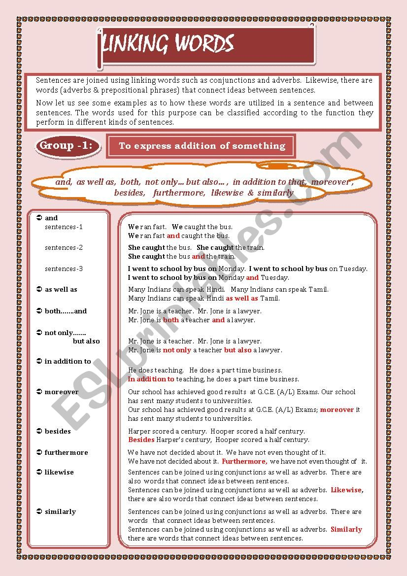 LINKING WORDS (Conjunctions + Adverbs) Page - 01