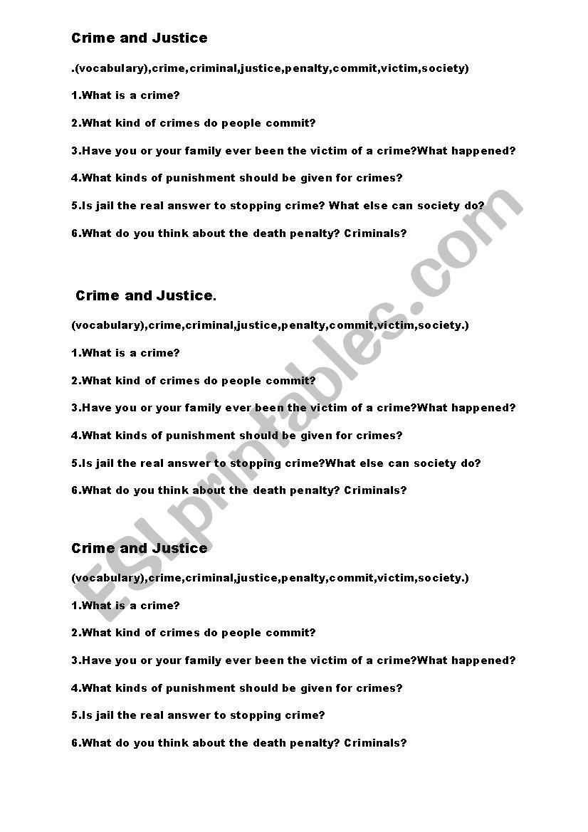 Crime and Justice worksheet