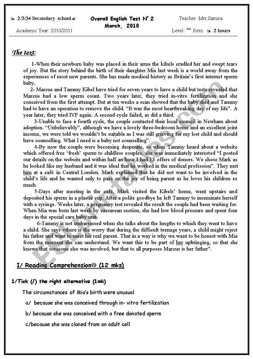 3rd form comprehensive test  worksheet