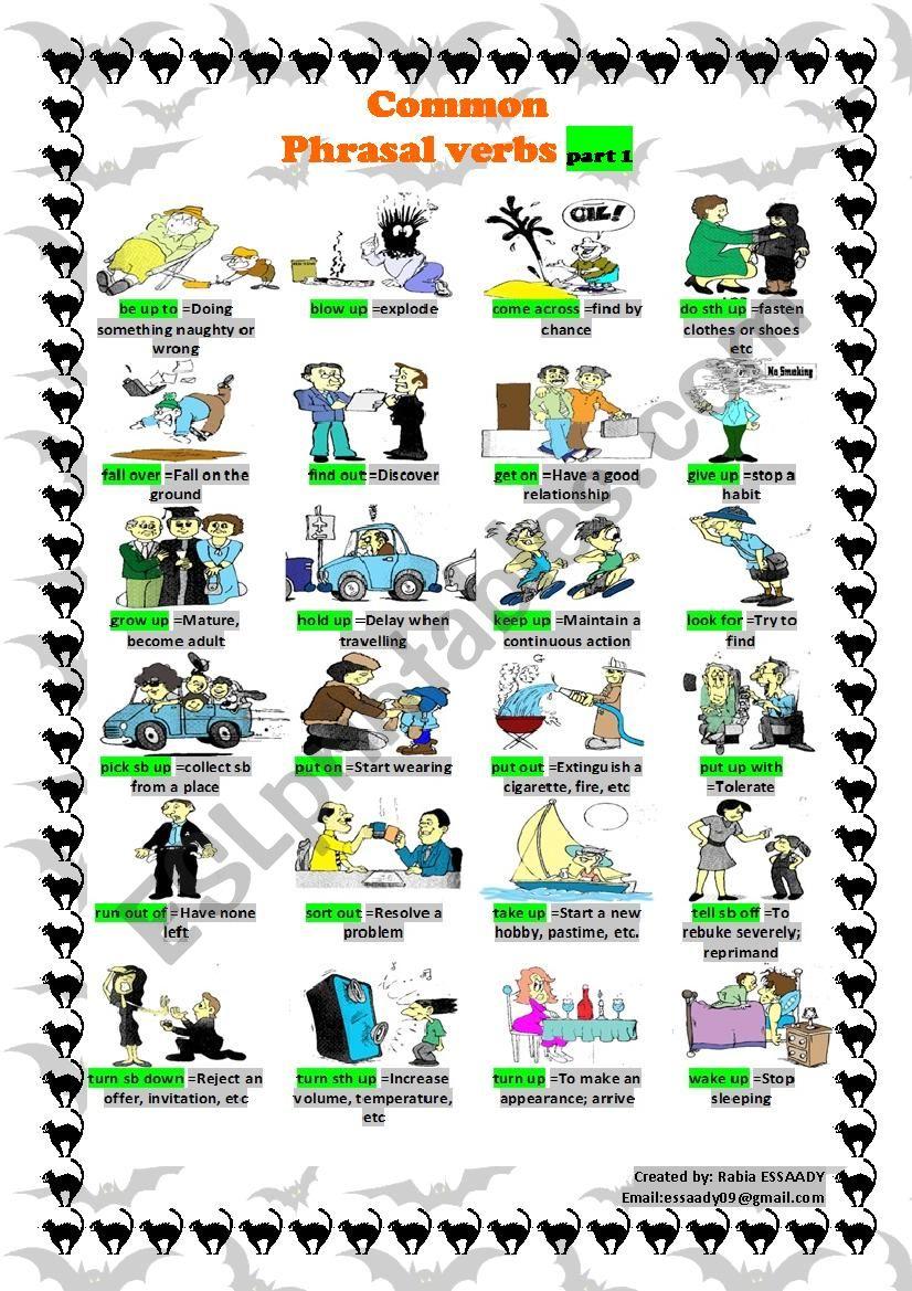 Common phrasal verbs part 1 worksheet
