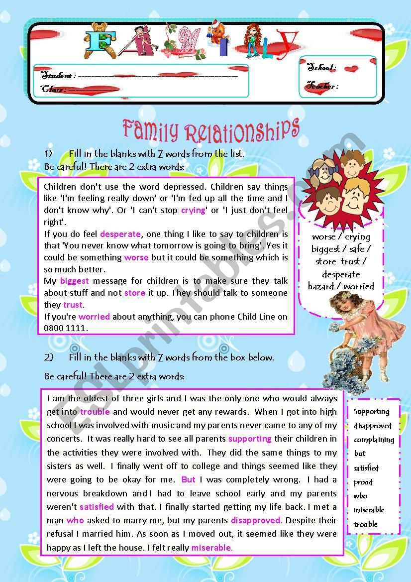 All About Family! Exercises on Family Relationships / Pocket Money / Household Chores (4 PAGES)