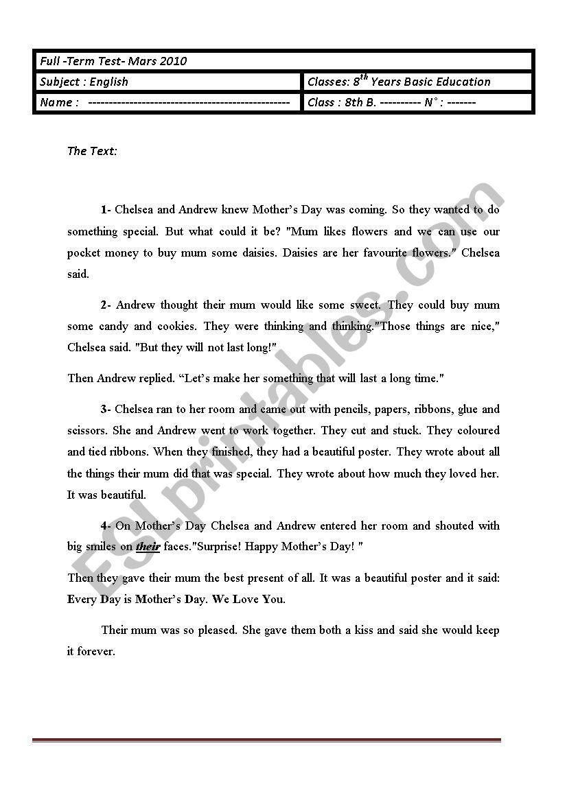 Full term test 8th form - ESL worksheet by NADINE 13