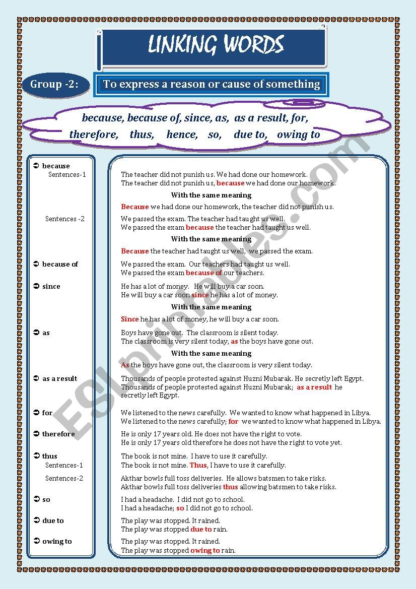 LINKING WORDS (Conjunctions + Adverbs) Page - 02