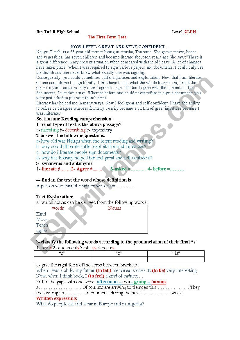 First English Test worksheet