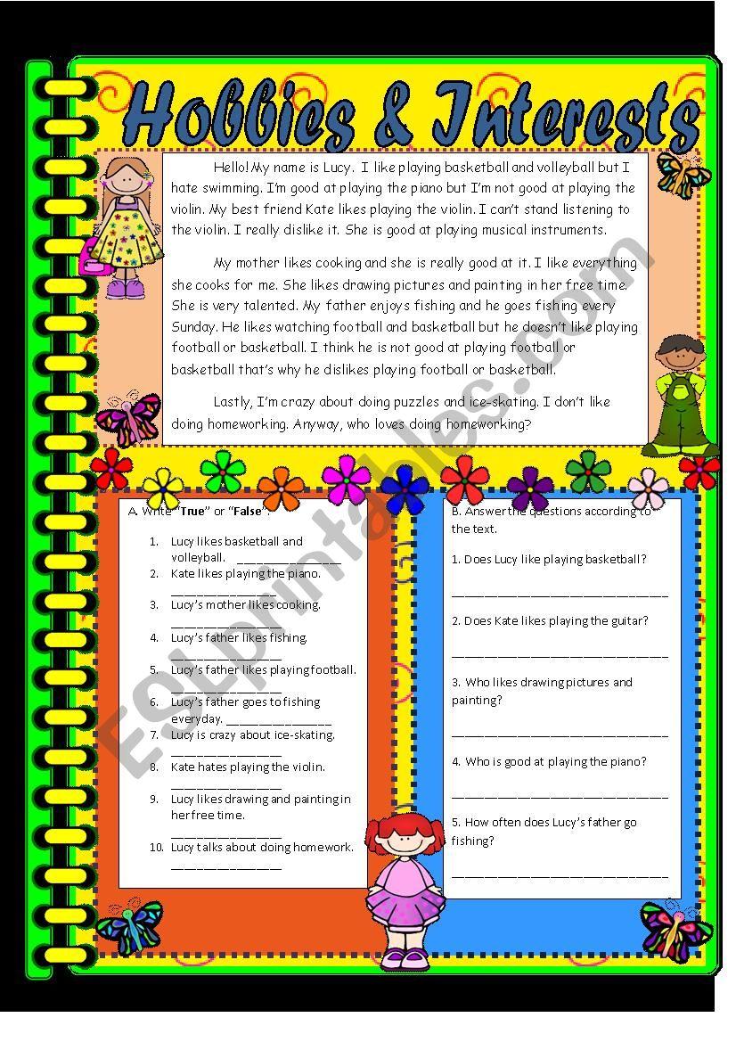 Hobbies & Interests  worksheet