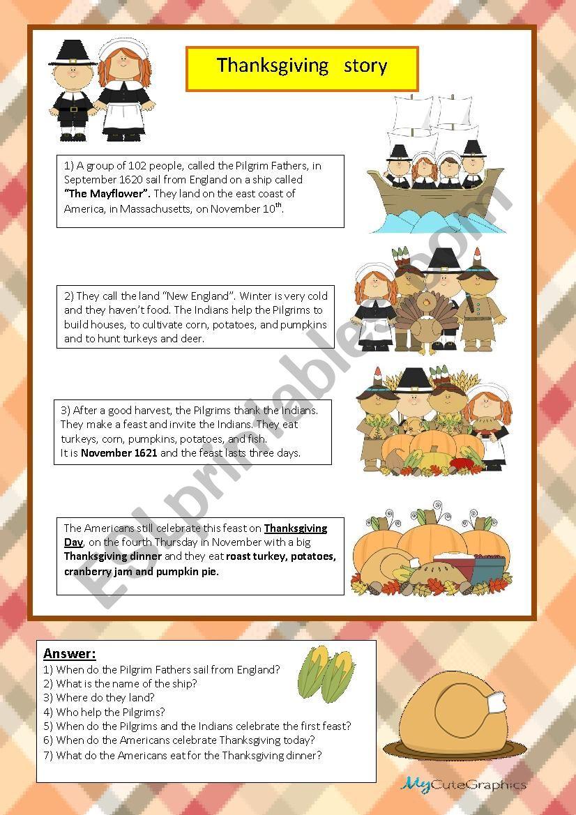 thanksgiving story worksheet