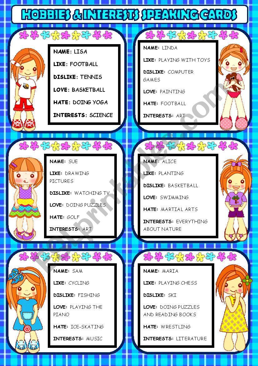 Hobbies & Interests Speaking Cards
