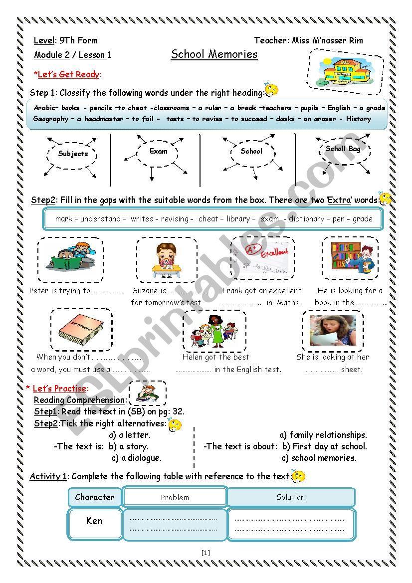 School Memories Worksheet worksheet