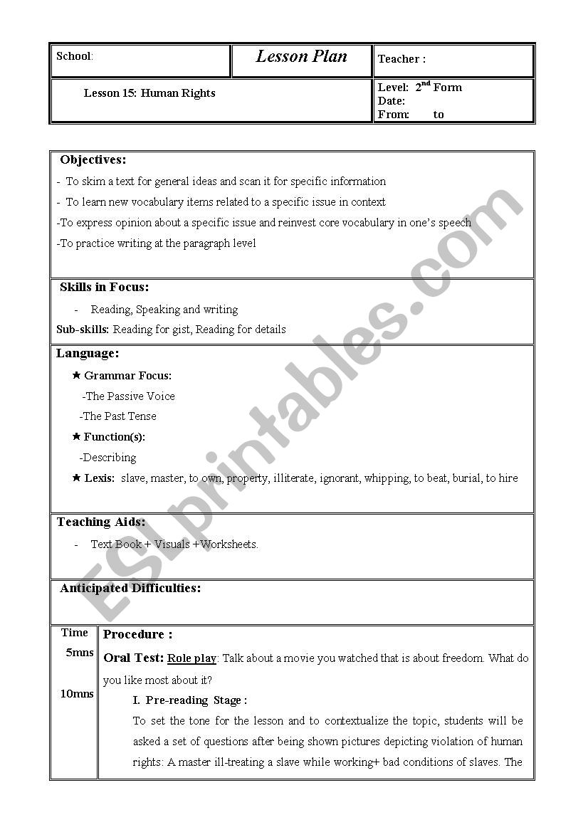 Human Rights (lesson plan) (Lesson : 15 , 2nd Form. Tunisian students)