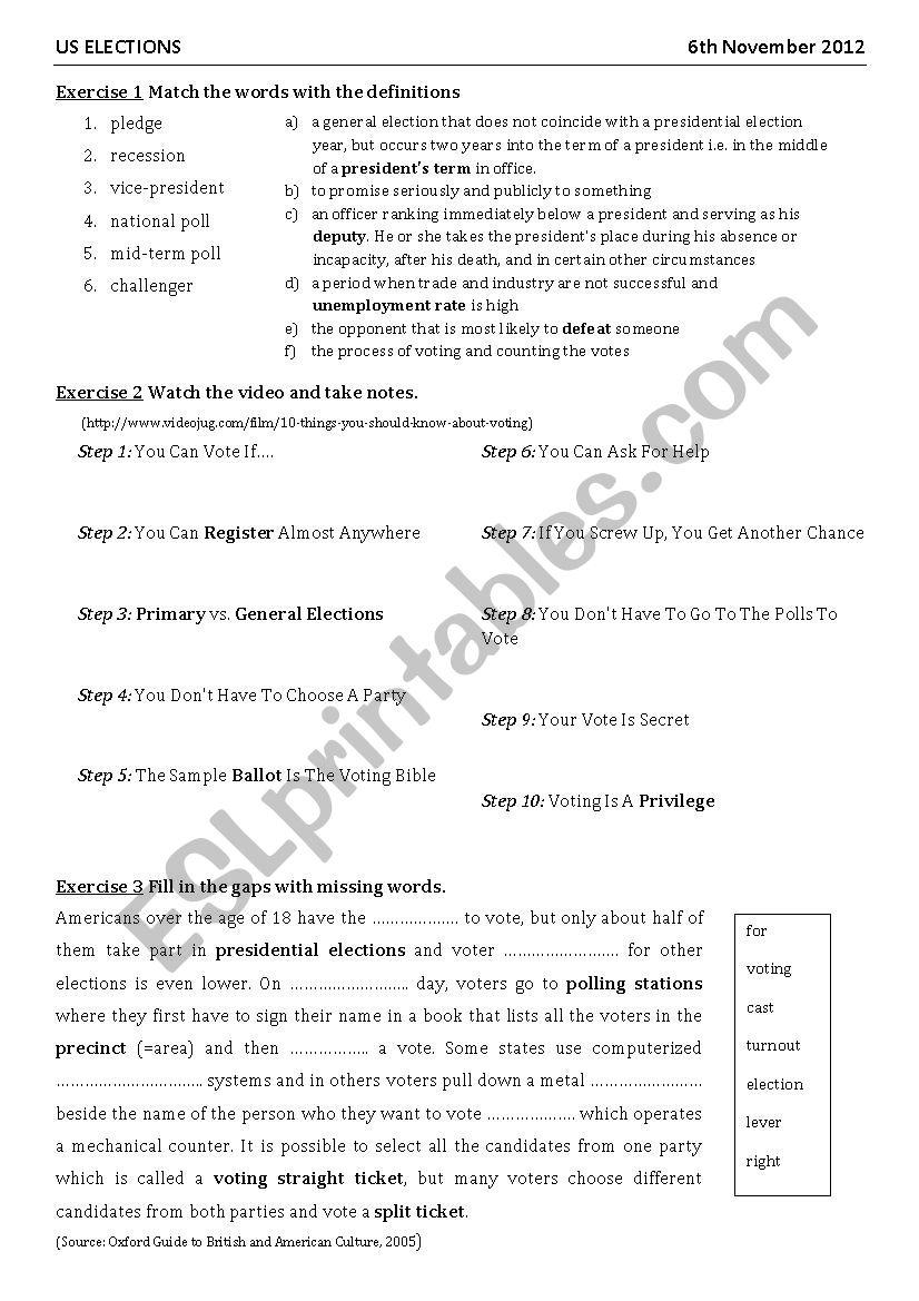 US elections 2012 worksheet