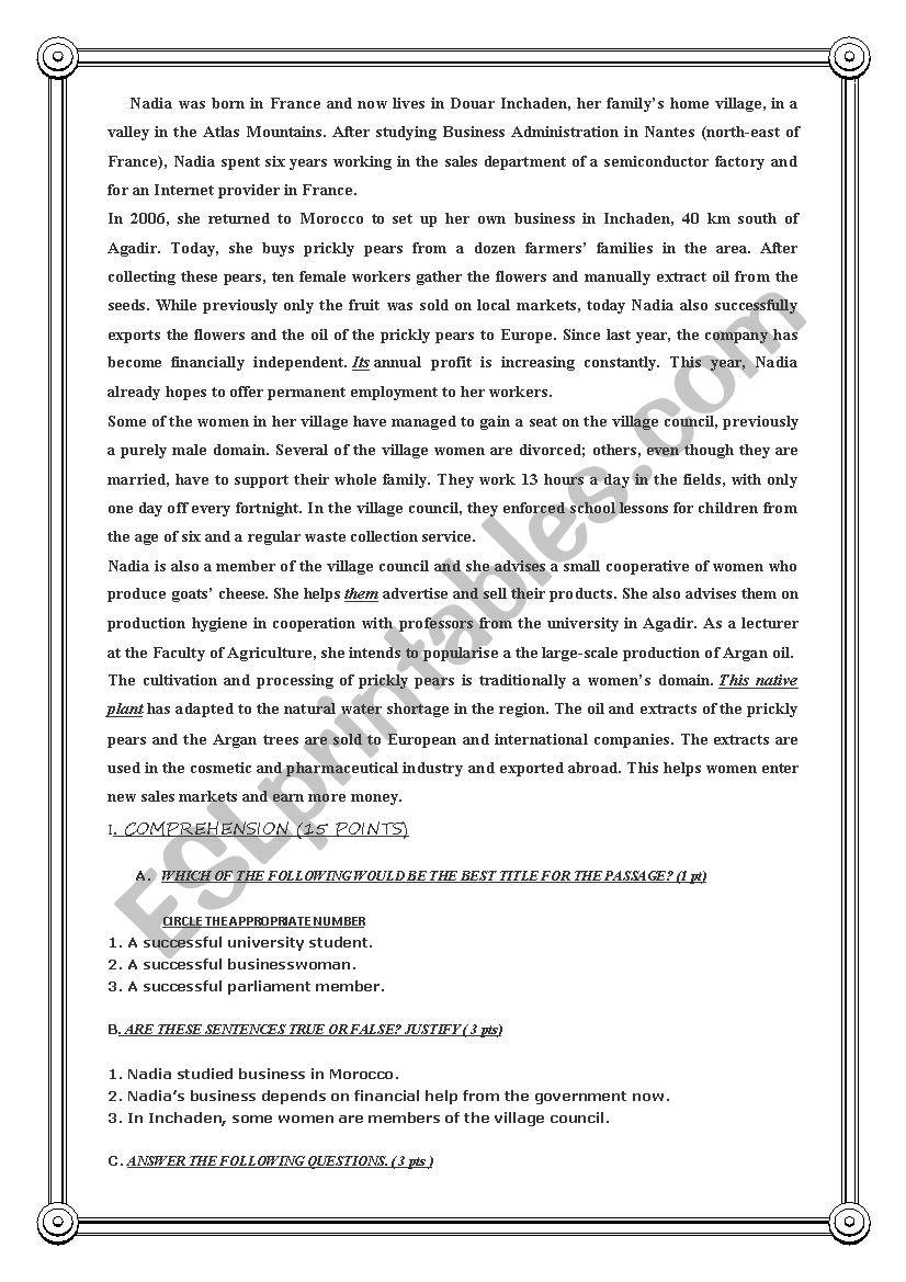 Reading comprehension bac exam esl worksheet by halim98 reading comprehension bac exam ibookread PDF
