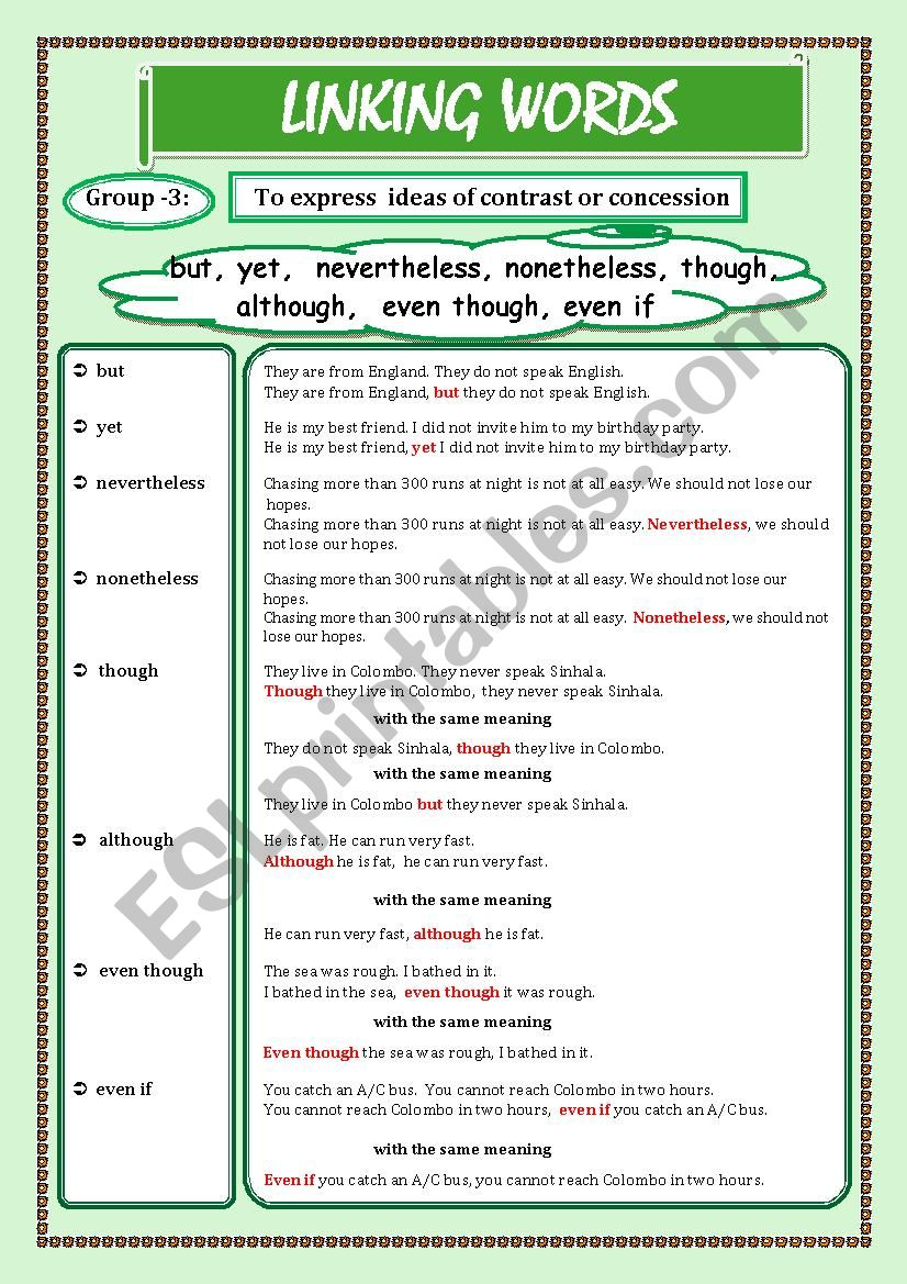 LINKING WORDS (Conjunctions + Adverbs) Page - 03