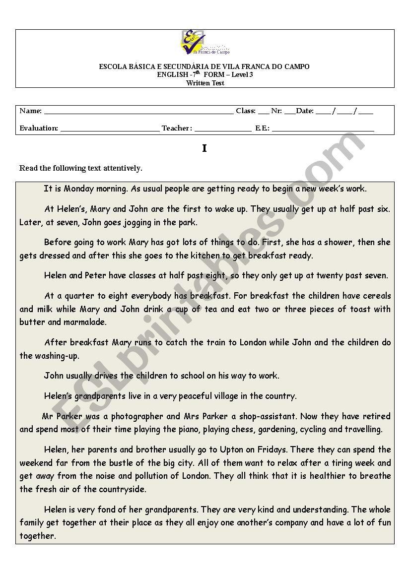 Test for grade 7 students worksheet
