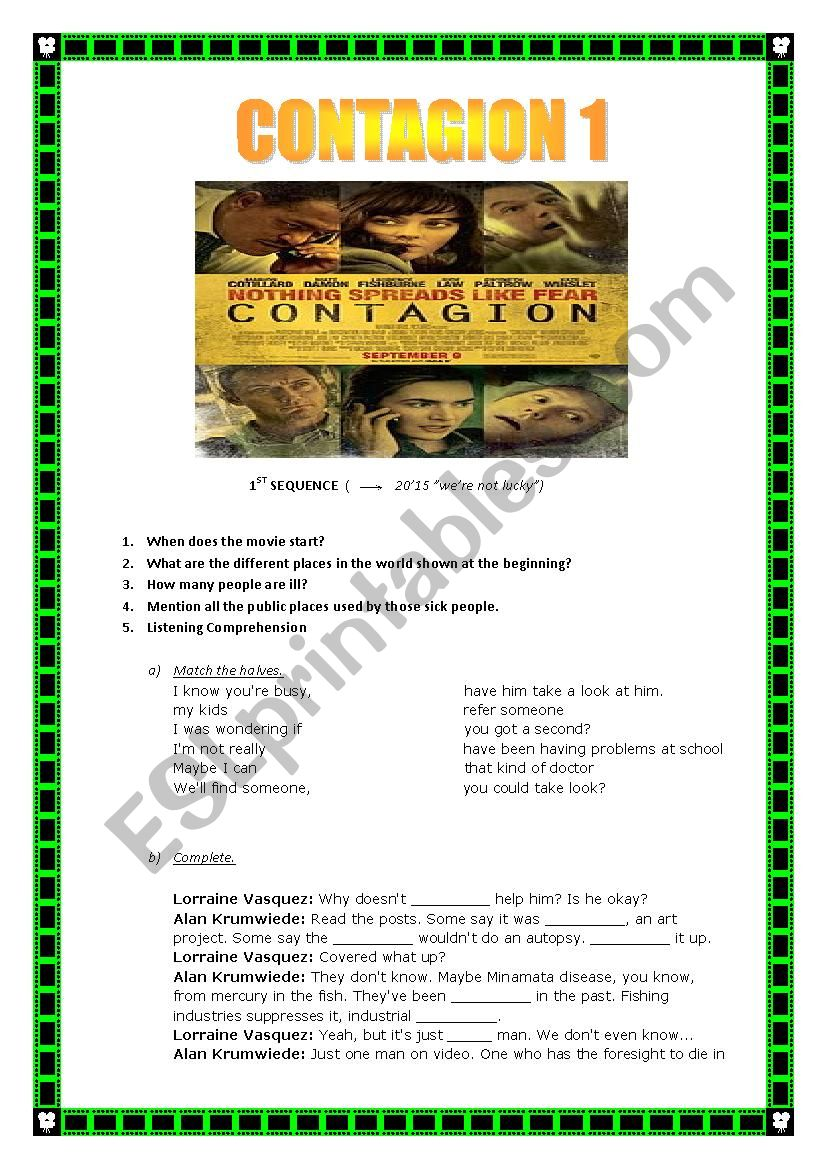 Contagion movie questions worksheet answers