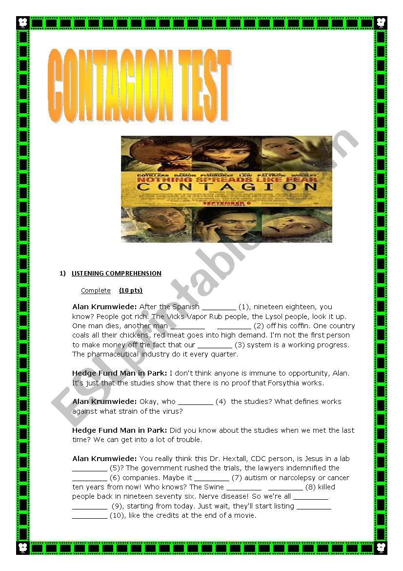 Contagion movie worksheet answers