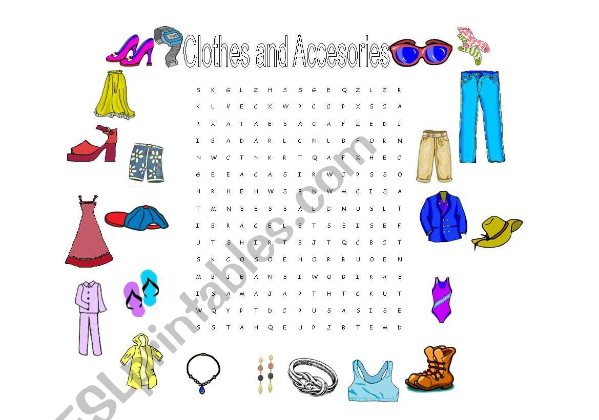 Clothes and Accesories Wordsearch