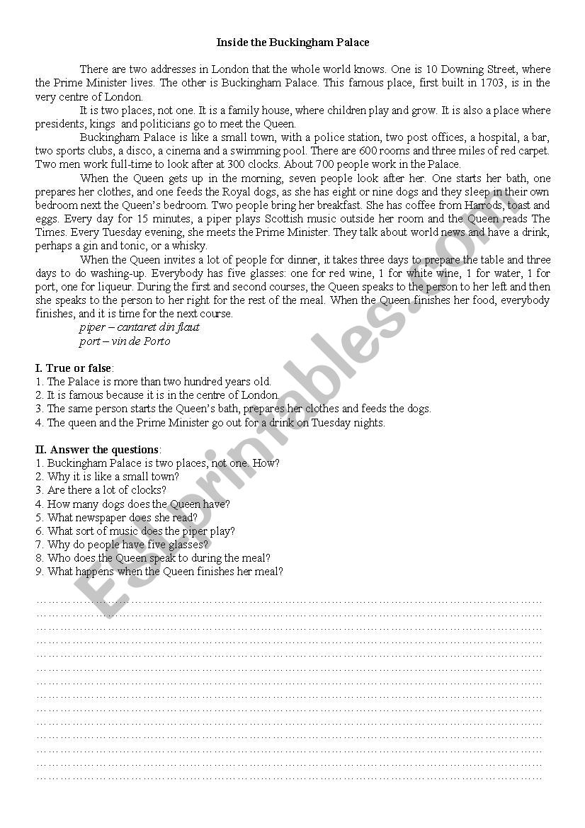INSIDE BUCKINGHAM PALACE worksheet