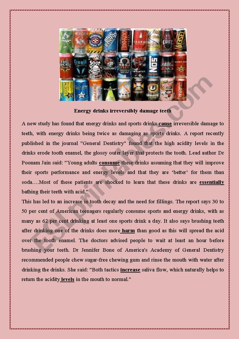 energy drinks reading comprehension