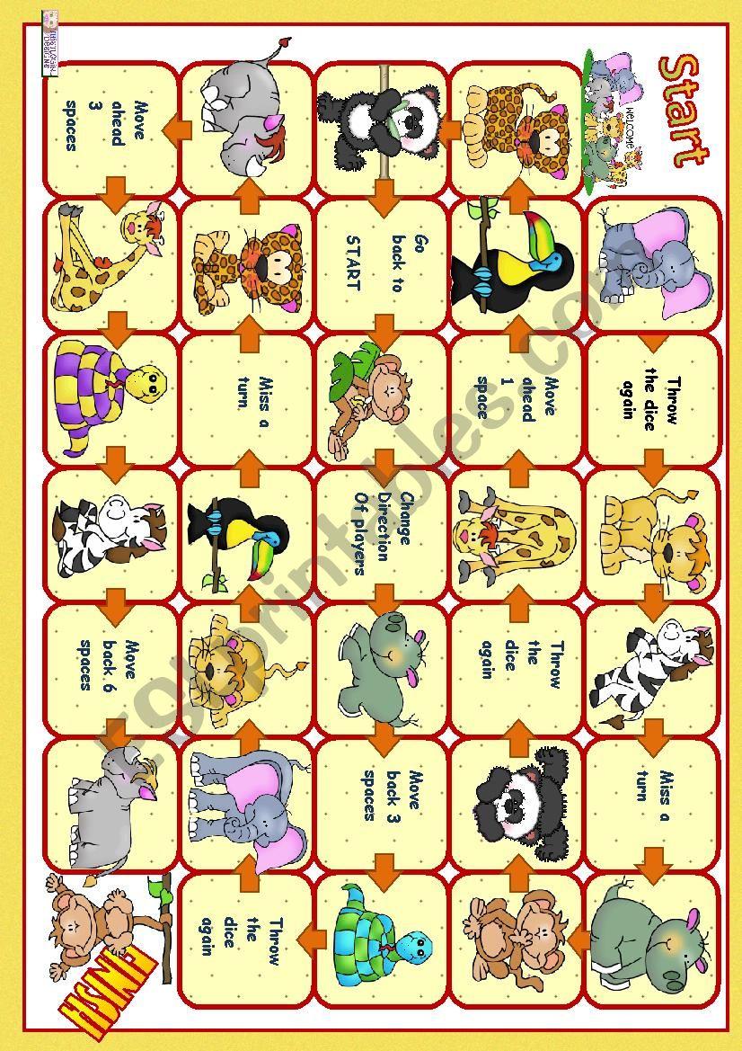 Boardgame - wild animals worksheet