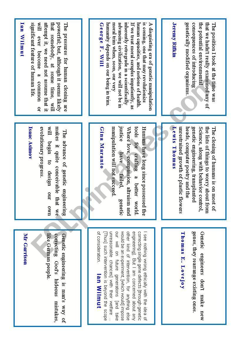 Genetic Engineering Quotes Esl Worksheet By Maggie2009